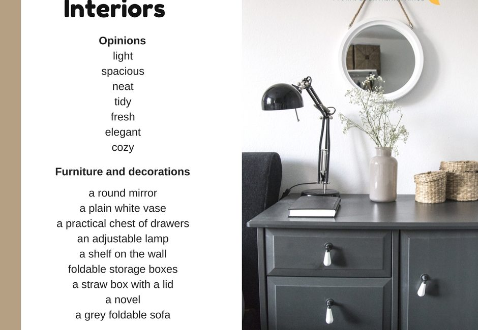 Anglická slovíčka – interiéry